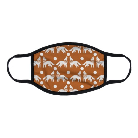 Wolves Howling at Moon Boho Pattern Rust Flat Face Mask