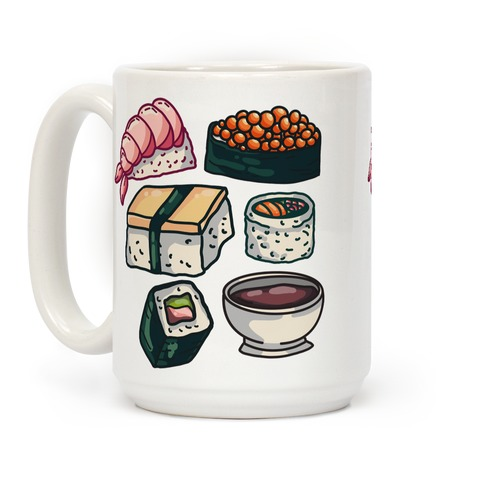 Red Sushi Pattern Coffee Mug