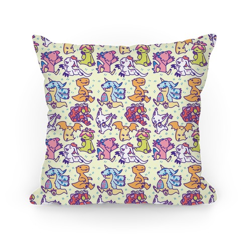 Digital Monsters Pattern Pillow