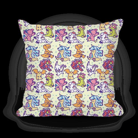 Digital Monsters Pattern Pillow