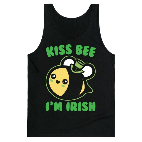 Kiss Bee I'm Irish Parody White Print Tank Top