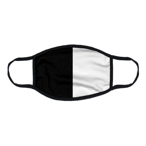 Vertical Black and White Split Flat Face Mask