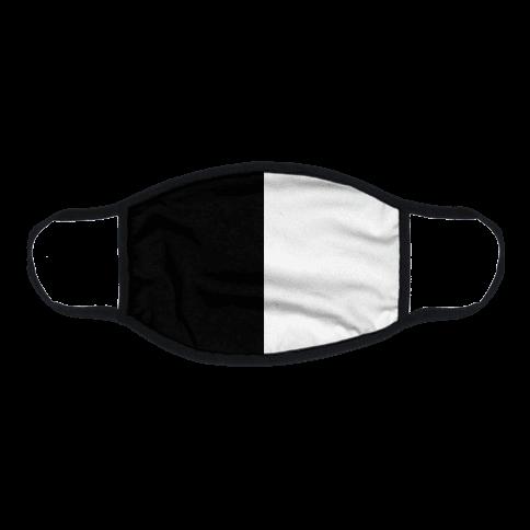 Vertical Black and White Split Flat Face Mask
