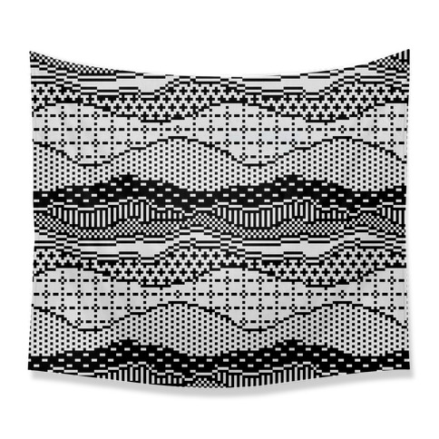 Pixel Waves Tapestry