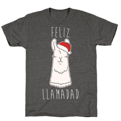 Feliz Llamadad Parody White Print T-Shirt