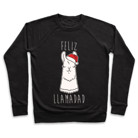 Feliz Llamadad Parody White Print Pullover