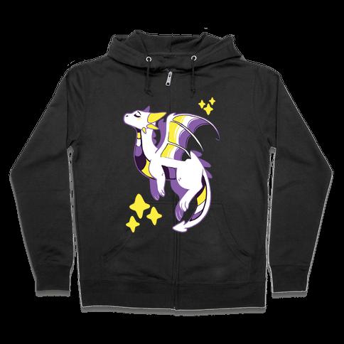 Non-Binary Pride Dragon Zip Hoodie