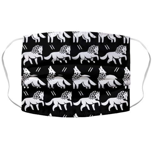 Wolf Black and White Boho Pattern Face Mask Cover