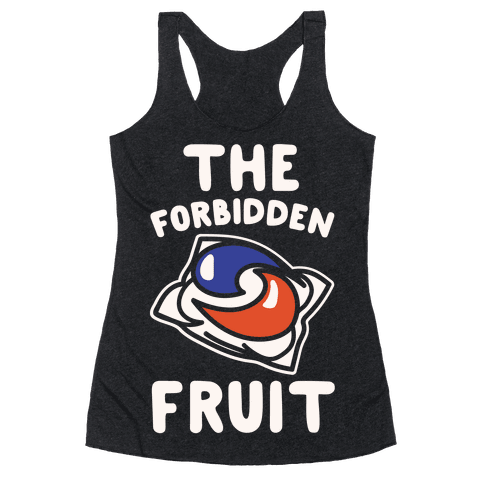 The Forbidden Fruit White Print Racerback Tank Top