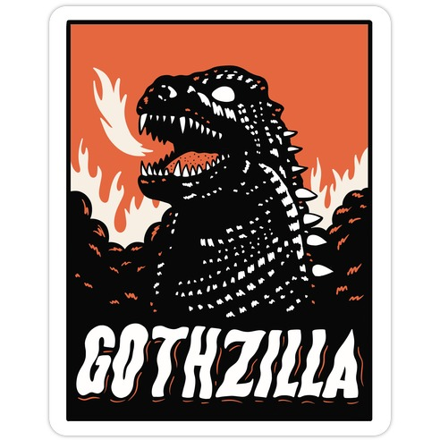 Gothzilla Goth Godzilla Die Cut Sticker