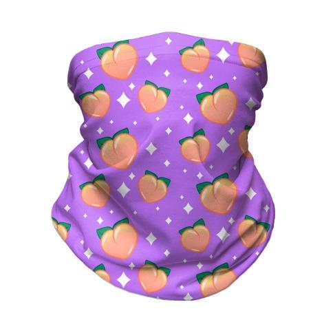 Peaches N' Sparkles Pattern Purple Neck Gaiter