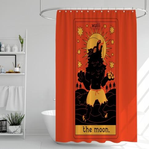 The Moon Werewolf Tarot Shower Curtain