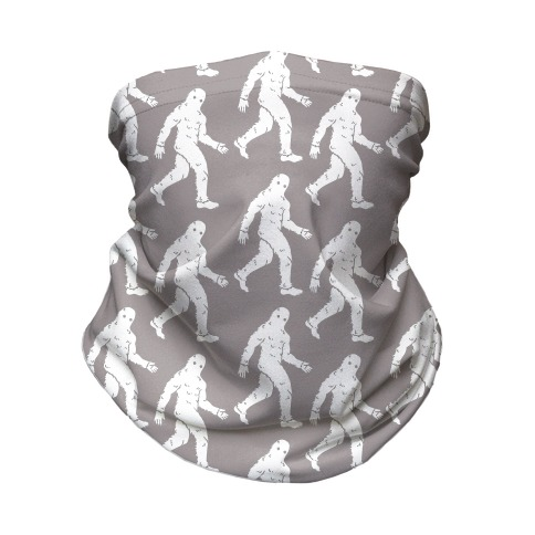 Big Foot Pattern Black and White Neck Gaiter