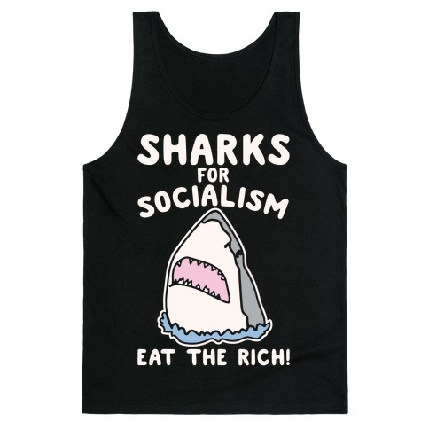 Sharks For Socialism Parody White Print Tank Top
