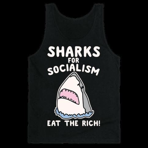 Sharks For Socialism Parody White Print Tank Top