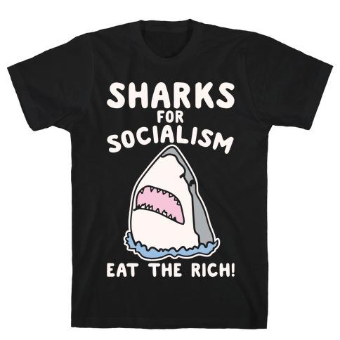 Sharks For Socialism Parody White Print T-Shirt