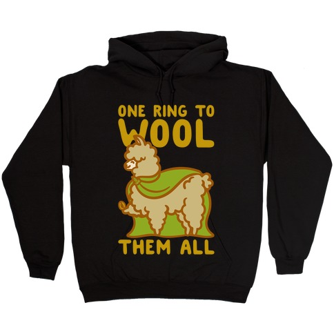 One Ring To Wool Them All Parody White Print Hooded Sweatshirt