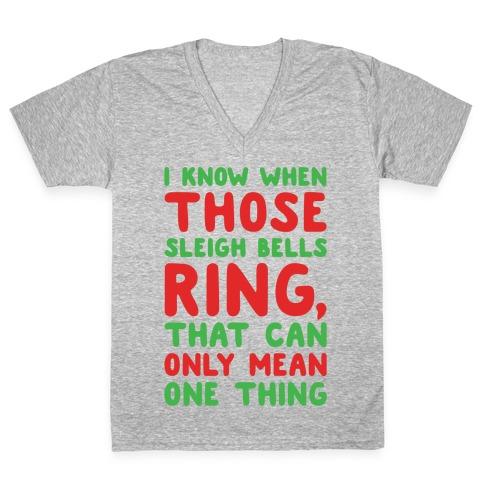 I Know When Those Sleigh Bells Ring Hotline Bling Parody White Print V-Neck Tee Shirt