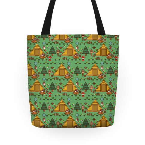 Yellow Tent Glamping Pattern Green Tote