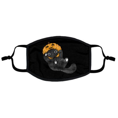 Halloween Pumpkin Cat Flat Face Mask