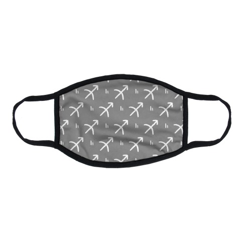 Sagittarius Symbol Pattern Grey Flat Face Mask