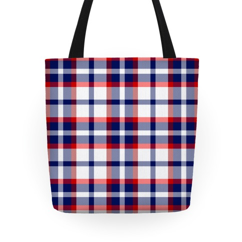 Red white and blue Plaid Tote