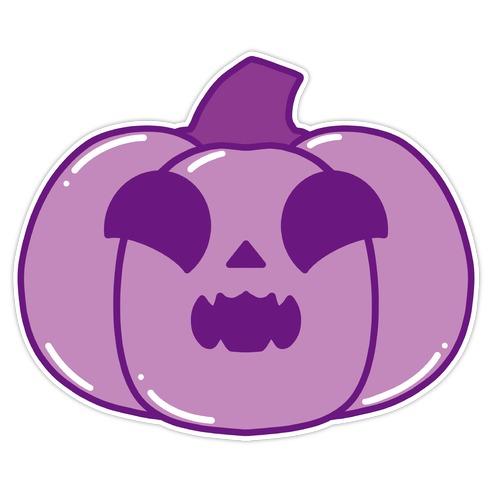 Kawaii Excited Pumpkin Purple Die Cut Sticker