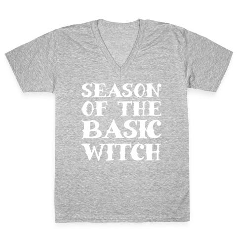 Season of The Basic Witch Parody White Print V-Neck Tee Shirt