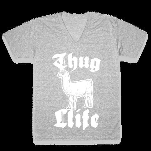 Thug Llife (llama) V-Neck Tee Shirt