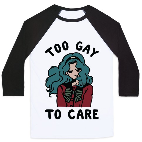 Too Gay To Care Michiru Baseball Tee