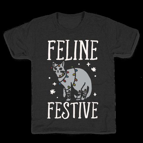 Feline Festive White Print Kids T-Shirt