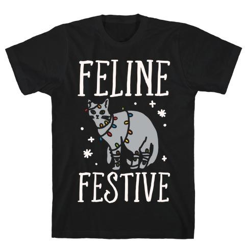 Feline Festive White Print T-Shirt