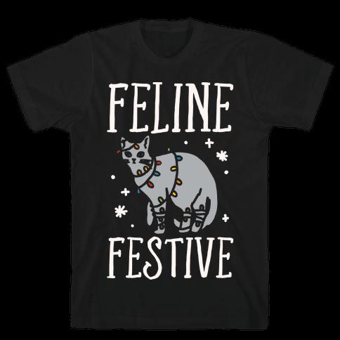Feline Festive White Print Mens T-Shirt