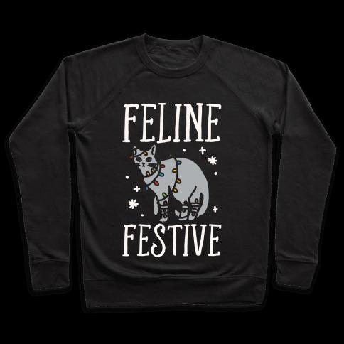 Feline Festive White Print Pullover