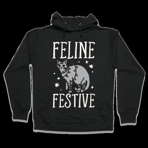 Feline Festive White Print Hooded Sweatshirt