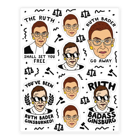 Sassy Ruth Bader Ginsburg Sticker Sheet Sticker and Decal Sheet