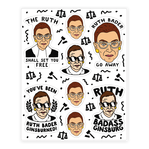 Sassy Ruth Bader Ginsburg Sticker Sheet Sticker/Decal Sheet