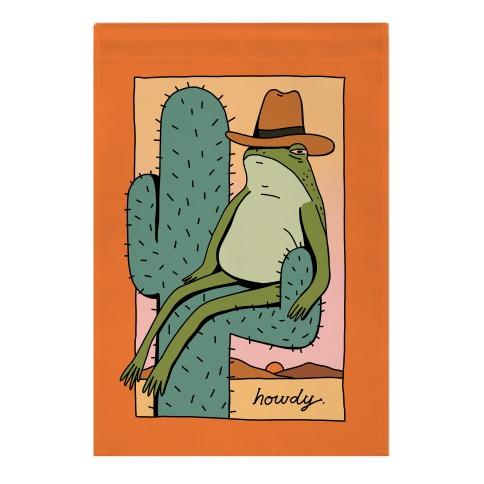 Howdy Frog Cowboy Garden Flag