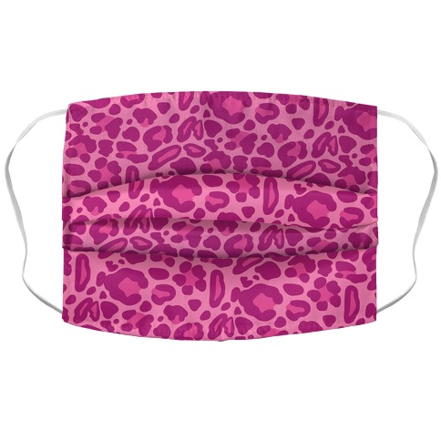 Pink Leopard Print Pattern Accordion Face Mask