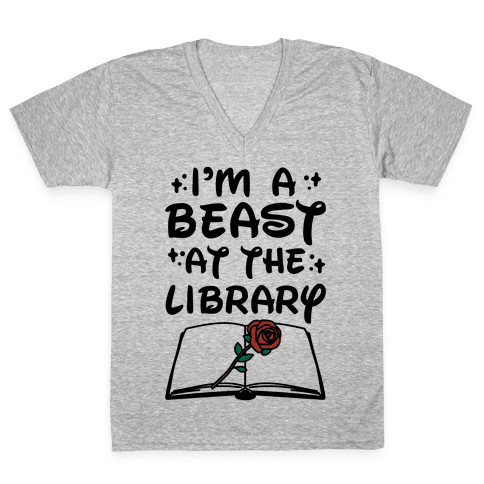 I'm A Beast At The Library Parody V-Neck Tee Shirt