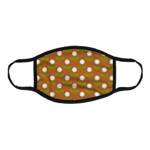 Dainty Retro Dandelions Brown Pattern Flat Face Mask