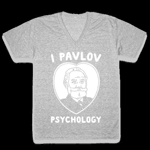 I Pavlov Psychology White Print V-Neck Tee Shirt