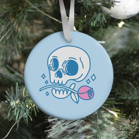 Hopeless Romantic Skull Ornament