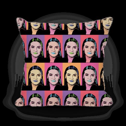 Alexandria Ocasio-Cortez Pop Art Parody Pillow