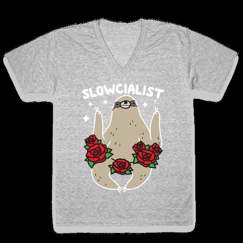 Slowcialist - Socialist Sloth V-Neck Tee Shirt