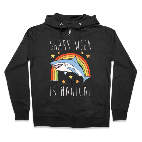 Shark Week Is Magical Parody White Print Zip Hoodie