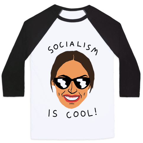 Socialism Is Cool Alexandria Ocasio-Cortez Baseball Tee