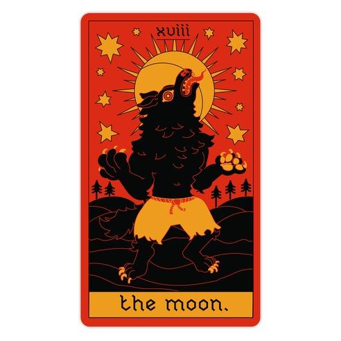 The Moon Werewolf Tarot Die Cut Sticker