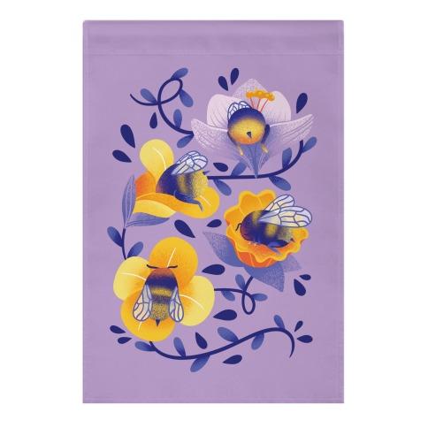 Sleepy Bumble Bee Butts Floral Garden Flag