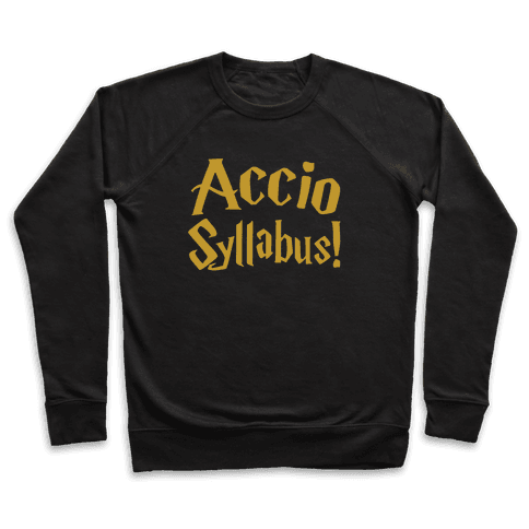 Accio Syllabus Parody White Print Pullover